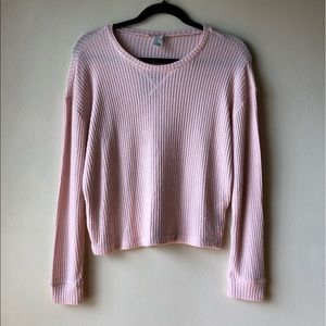 Pink Waffle Knit Cropped Sweater SUPER SOFT